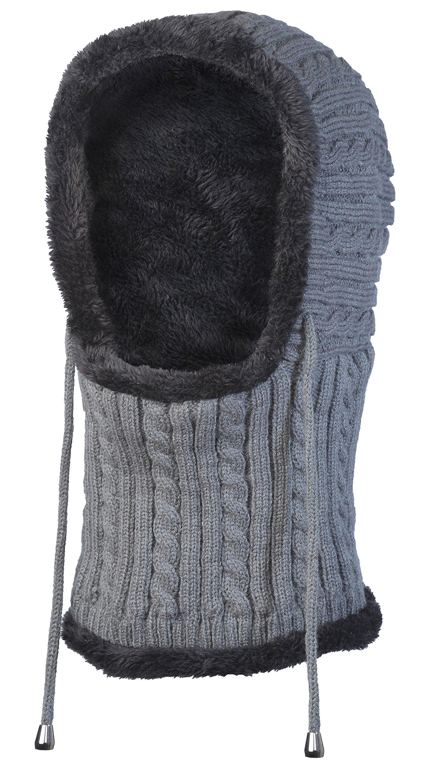 Bertelli Unisex Winter Knitting Warm Hat Cable Knit, Ski Mask, Balaclava, HS01-GRY