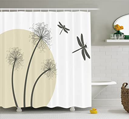 Ambesonne Dragonfly Shower Curtain Spring Dandelions Botany Blossoming Petals Essence Of Nature Growth Theme