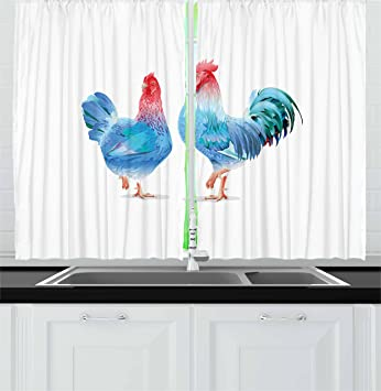 Lunarable Chicken Kitchen Curtains, Blue Rooster and Hen Domestic Farm  Animals in Abstract Colors, Window Drapes 2 Panel Set for Kitchen Cafe  Decor, ...