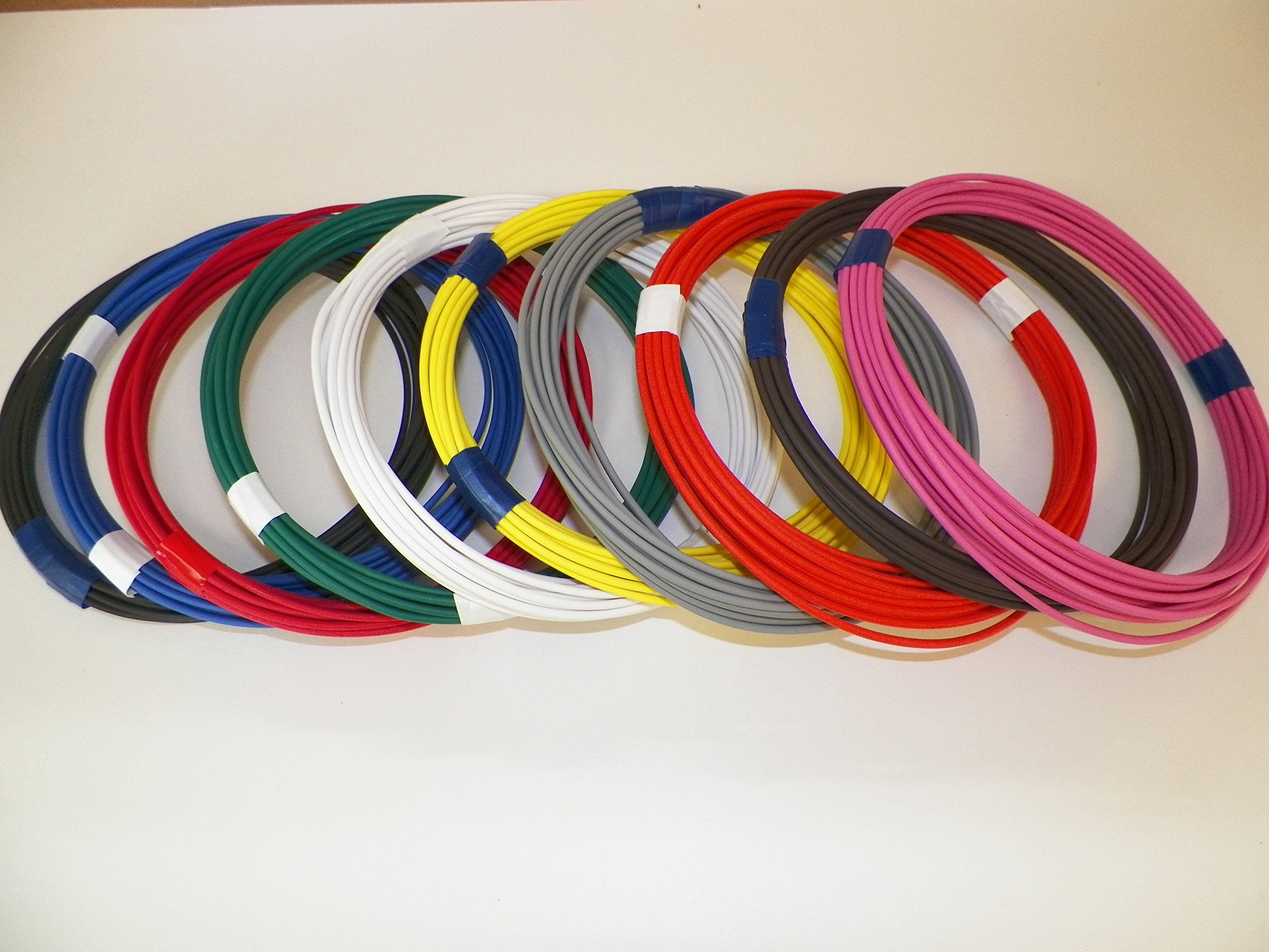 Automotive Copper Wire, TXL, 16 GA, AWG, GAUGE Truck, Motorcycle, RV, General Purpose. Order by 3pm EST Shipped Same Day (10 Colors 10' Each) (10 COLORS BY 25' EACH)