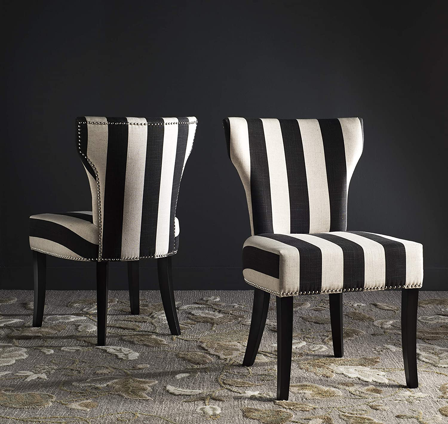 """Safavieh Mercer Collection Jappic Black & White Stripe Side Chair (Set of 2), 22"""""""
