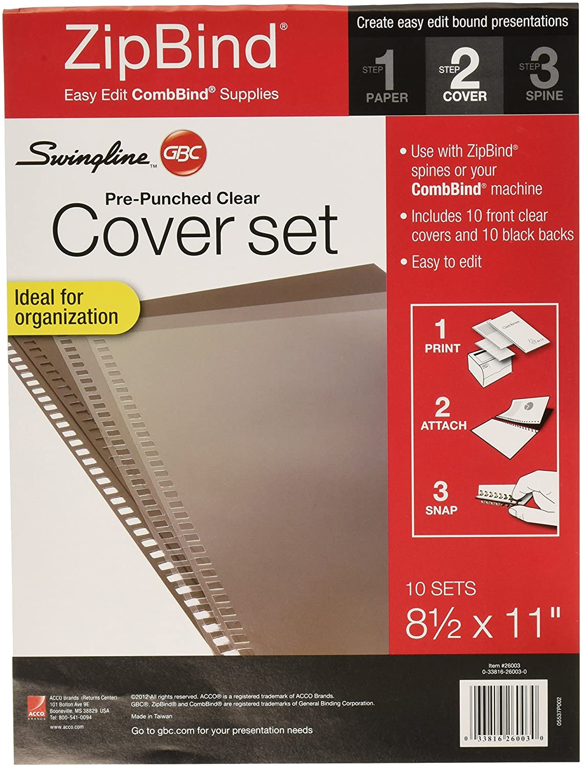 Swingline 3381626003 GBC Pre-Punched Binding Covers, 8-1/2 by 11-Inch, 10 Clear Front Covers and 10 Black Backs