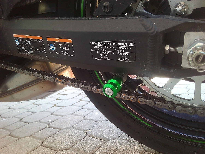 Euromotorstore Coppia di nottolini verdi M8 alza moto supporti per forcellone posteriore delle moto KAWASAKI Z1000 dal 2014 al 2018; Z1000SX dal 2014 in poi, Z800, Z900, Z650, ZX10R dal 2011 in poi; DUCATI 749 e 999; BMW S1000 RR, S1000 XR, S1000R NAKED; H