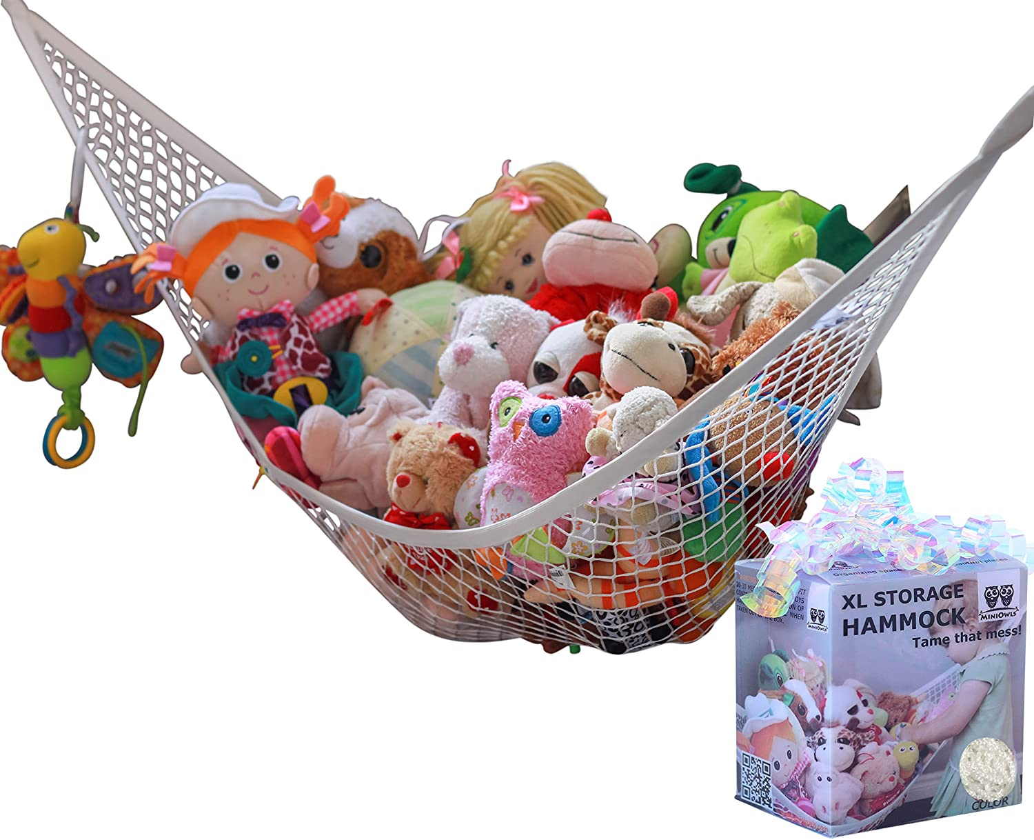 MiniOwls Plush Toy Hammock Organizer (White, XL)