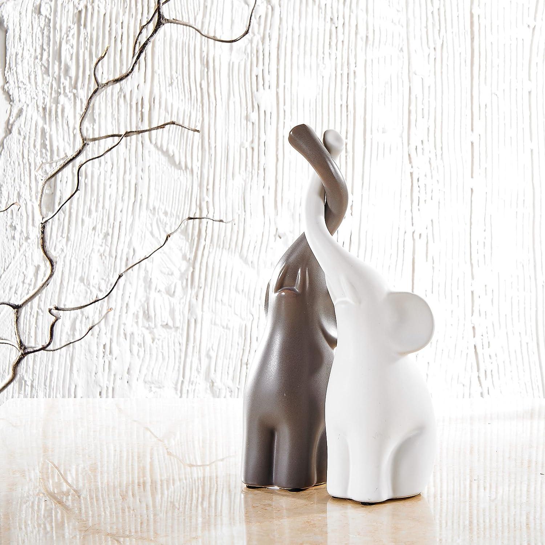 Lifestyle 2pcs /Él/éphants Sculpture D/écoratif en C/éramique Deux Couleurs Animaux Figurine Statue Artisanat Cadeau Mariage Saint-Valentin F/ête No/ël D/écoration de Table Maison Pure