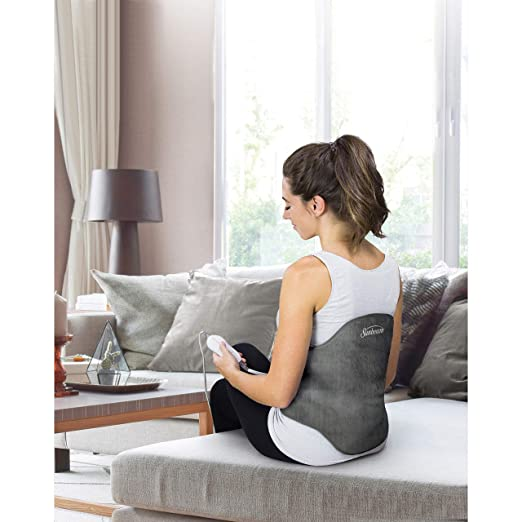 Sunbeam Heating Pad Back Wrap with Adjustable Strap | Contoured for Back Pain Relief | 4 Heat Settings with 2 Hour Auto-Off | 24 x 15-Inch, Slate Grey