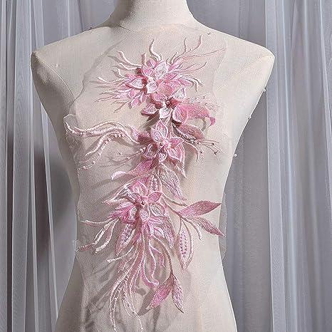 Sequin Lace Applique Trim Dance Motif Dress Embroidery Patch Craft DIY