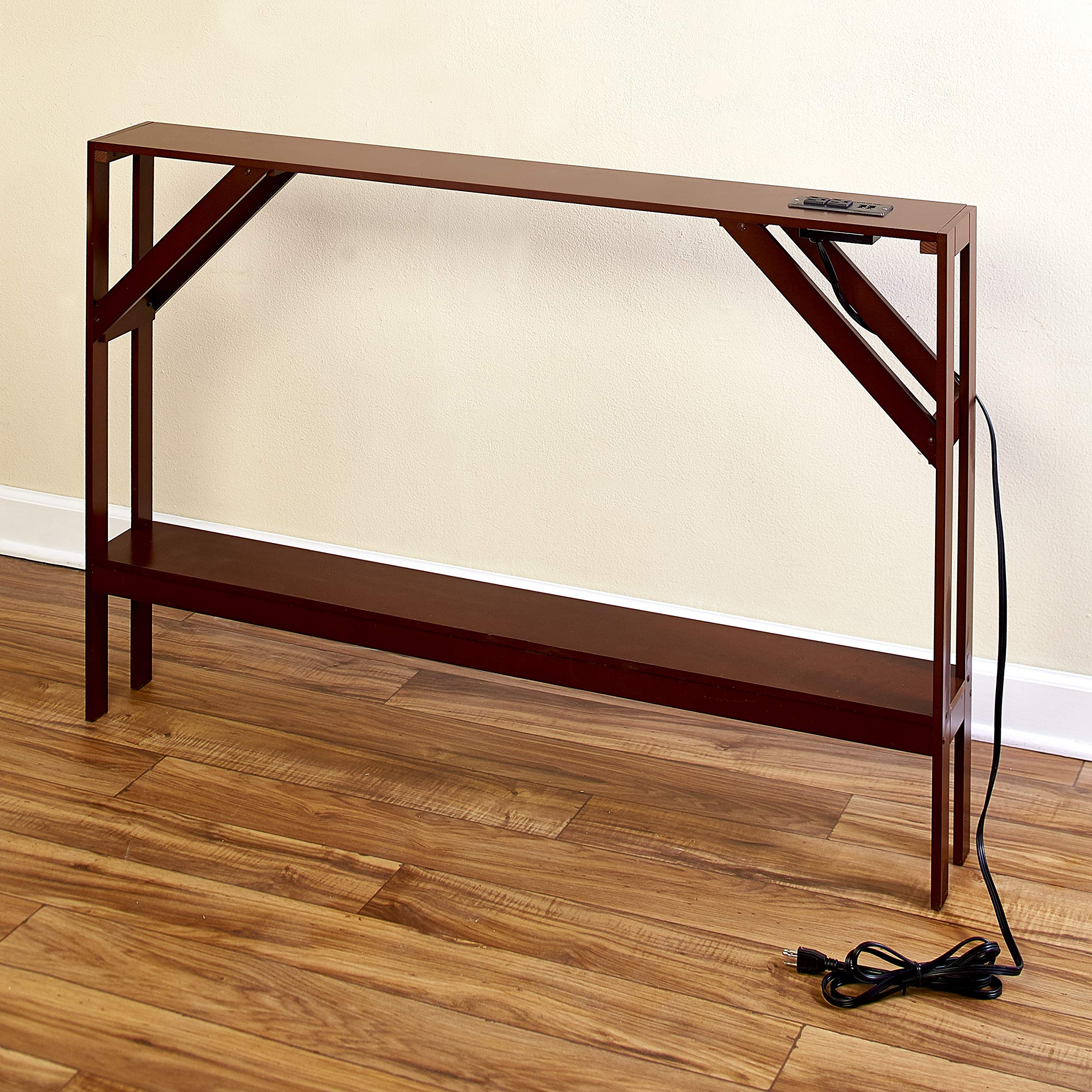 Skinny Sofa Table with Outlet - Modern Accent Table with Walnut Finish by The Lakeside Collection