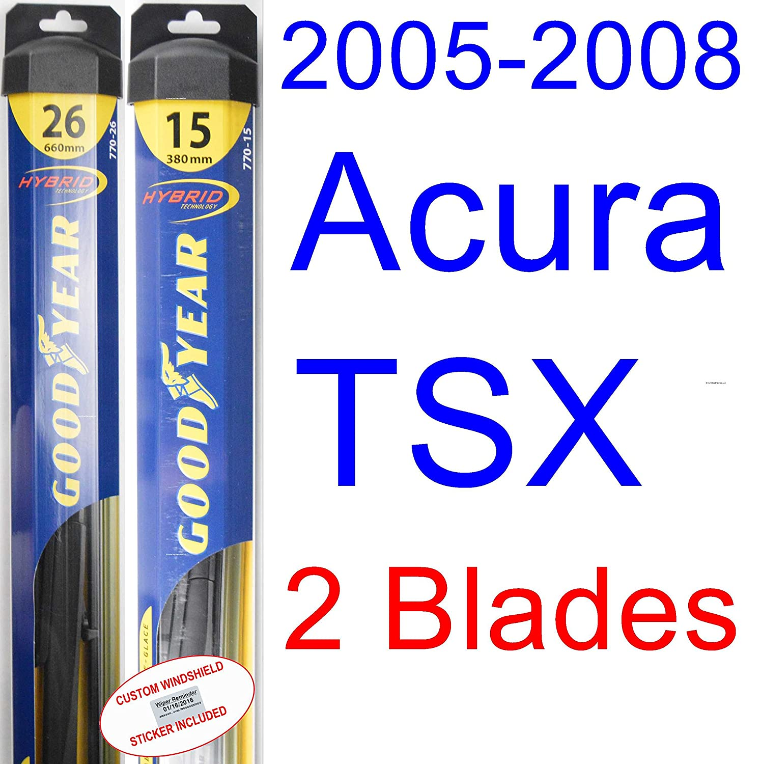 2005 2008 acura tsx replacement wiper blade set kit