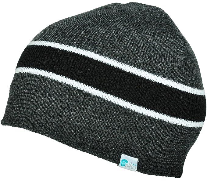 1639f745c04 Alki i striped mens womens warm beanie snowboarding winter hats - Grey