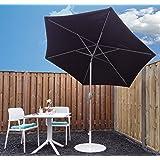 SORARA Sonnenschirm Parasol | Schwarz | Ø 270 cm | Rund Inti | Polyester 180 g/m² (UV 50+)| Kurbel & Pendel Mechanismus (excl. Base)