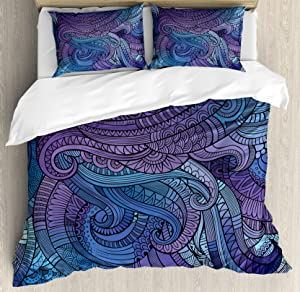 Ambesonne Abstract Duvet Cover Set, Ocean Inspired Graphic Paisley Swirled Hand Drawn Artwork Print, Decorative 3 Piece Bedding Set with 2 Pillow Shams, Queen Size, Purple Blue