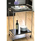 Chrome Plated Stainless Steel Rolling Service Cart, Hotel Grade 2 Tier Kitchen Food Server w/ Handle
