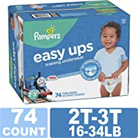 Pampers Easy Ups Training Pants Pull On Disposable Diapers Boys Underwear, Size 4 2T-3T, 74 Count, Super Pack