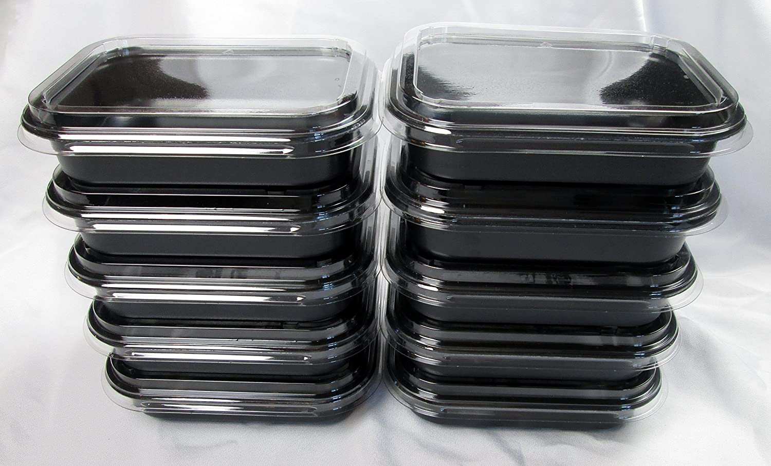 Frozen & Fabulous Meal Prep Containers with Clear Storage Lids, Oven, Microwave & Freezer-Safe, 16 fl oz, Set of 10, Black