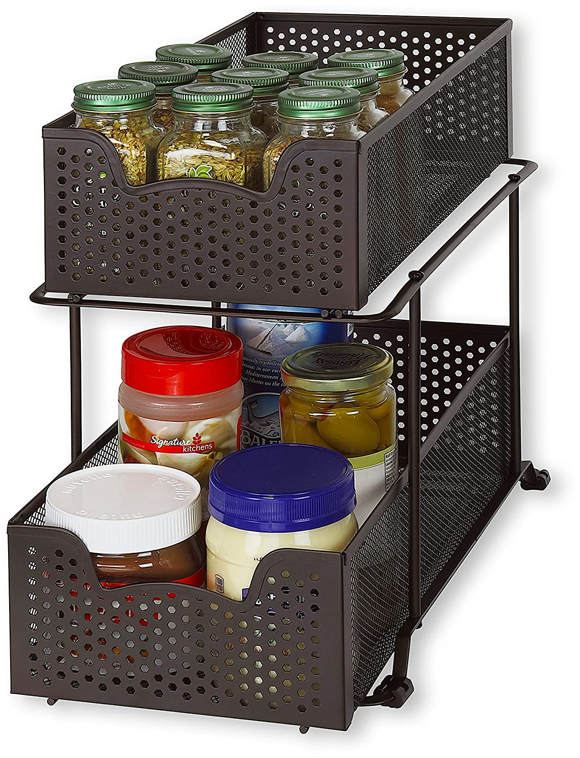 SimpleHouseware 2 Tier Sliding Cabinet Basket Organizer Drawer, Bronze Simple Houseware CB-006-2