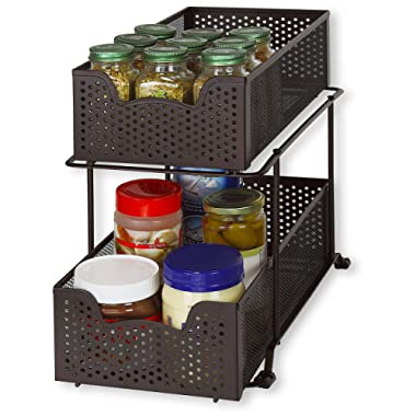 Simple Houseware 2 Tier Sliding Cabinet Basket Organizer Drawer, Bronze