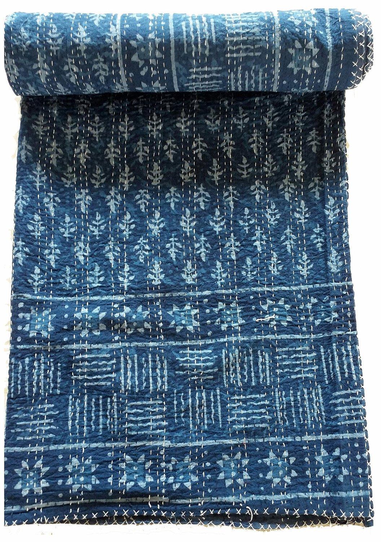 My Craft Palace bluee Indigo Queen Size Kantha Quilt Vintage Handmade Indigo Print Kantha Bedspread