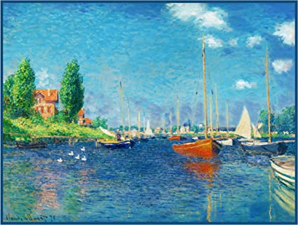 Orenco Originals Red Boats at Argenteuil by Claude Monet Counted Cross Stitch Pattern