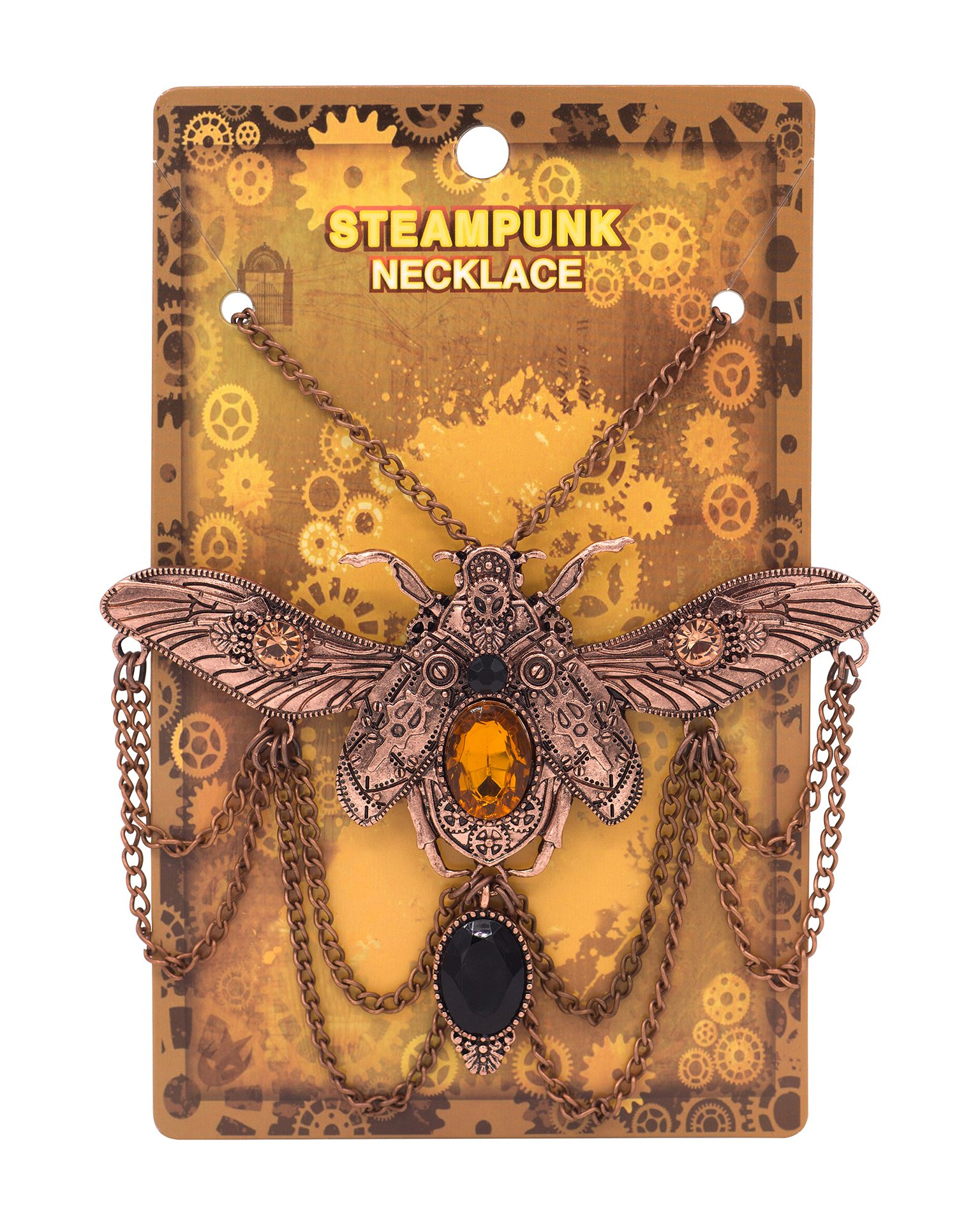 Zealmer Shoopic Steapunk Gear Scarab Beetle Dragonfly Pendant Cog Necklace 3