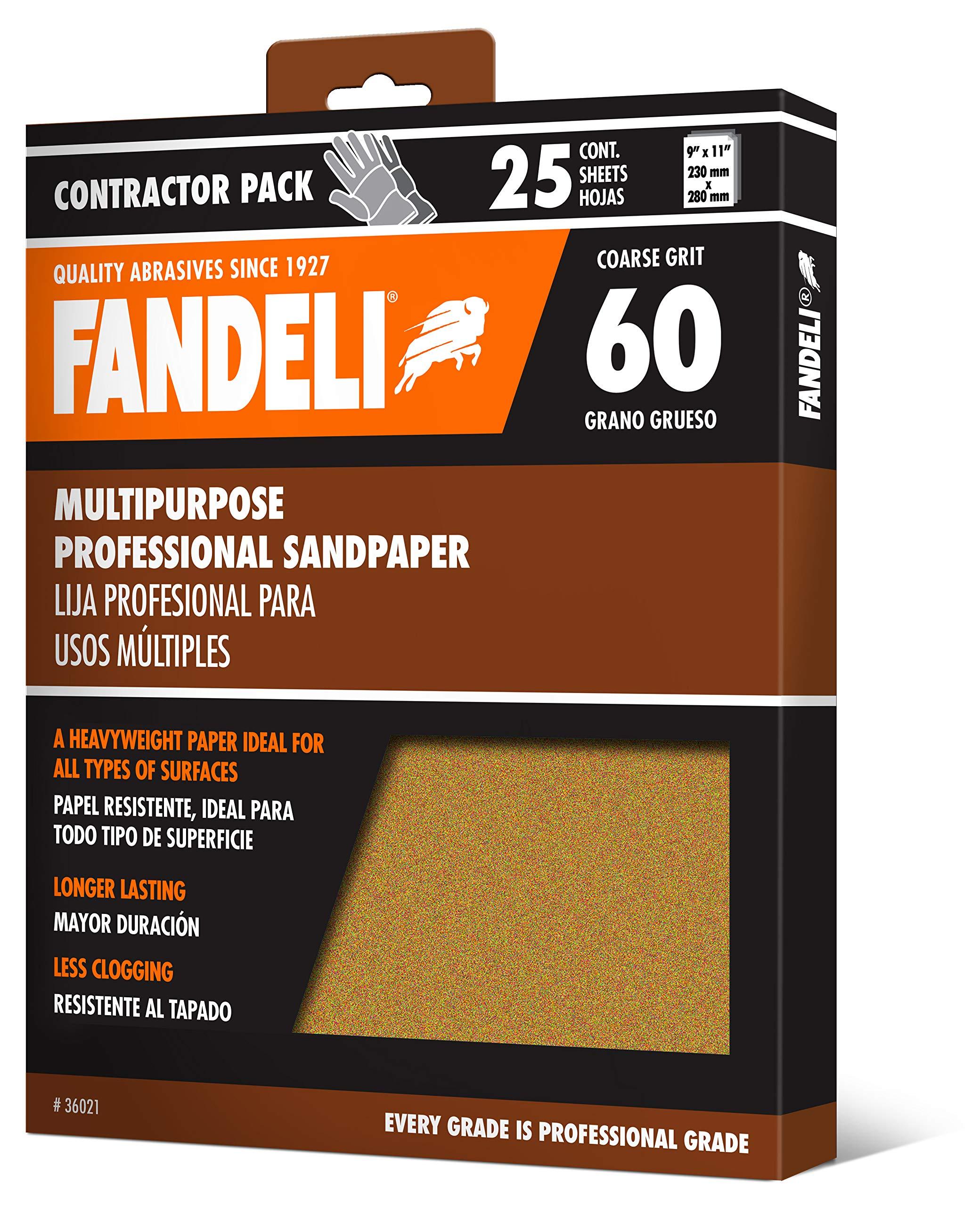 Fandeli 36021 060 Grit Multipurpose Sandpaper Sheets, 9''  x 11'', 25-Sheet by Fandeli