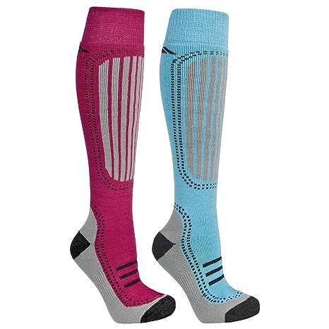 Trespass - Calcetines para Esquiar Modelo Janus Mujer Señora (Pack de 2 pares) -