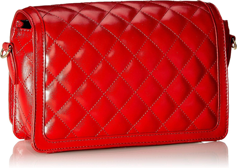 Love Moschino Borsa Quilted Nappa PU, Sac à bandoulière Femme, Noir, 14x8x23 centimeters (W x H x L) Rouge (Rosso)
