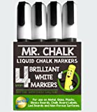 Mr. Chalk 4 Pack of 6MM Erasable White Liquid Chalk Marker Pen. Dustless Paint Style Marker for Restaurant and Bistro Menus, Kids Room Decor and DIY projects. Reversible Tip Money Back Guarantee