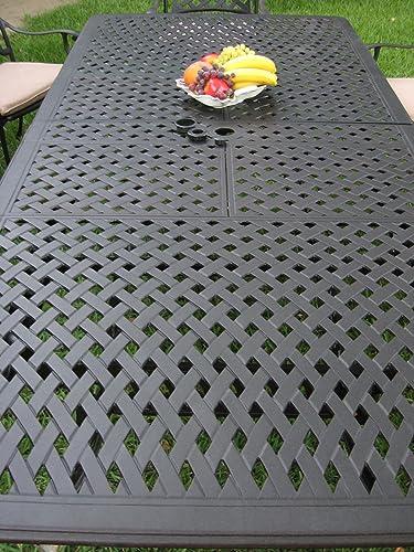 CBM Patio Kawaii Collection Cast Aluminum Outdoor Patio Furniture 9 Piece Extension Dining Table Set KL09KLSS260112T