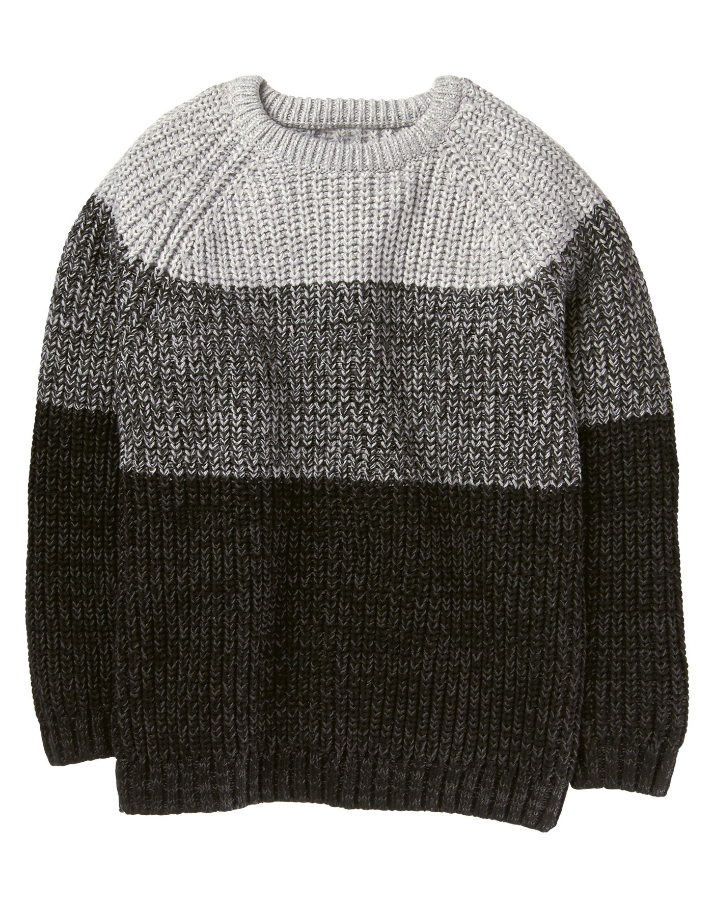 Crazy 8 Little Boys' Long Sleeve Raglan Ombre Sweater, Grey, XS