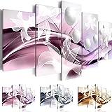 Quadro 200x100 cm ! Tre colori da scegliere - 5 Parti - Grande formato - Quadro su tela fliselina - Stampa in qualita fotografica -- Astrazione Fiore b-A-0226-b-p 200x100 cm B&D XXL