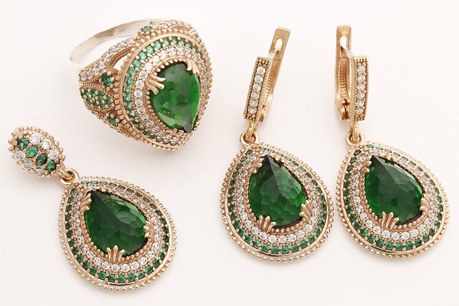 Ottoman Collection Empire Turkish Handmade Jewelry Drop Shape Pear Cut Emerald and Round Cut Topaz 925 Sterling Silver Jewelry Set Earrings,Pendant and Ring Size All