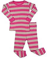 "Leveret Girls ""Striped"" 2 Piece Pajama Set Top & Pants 100% Cotton (Size Toddler-14 Years)"