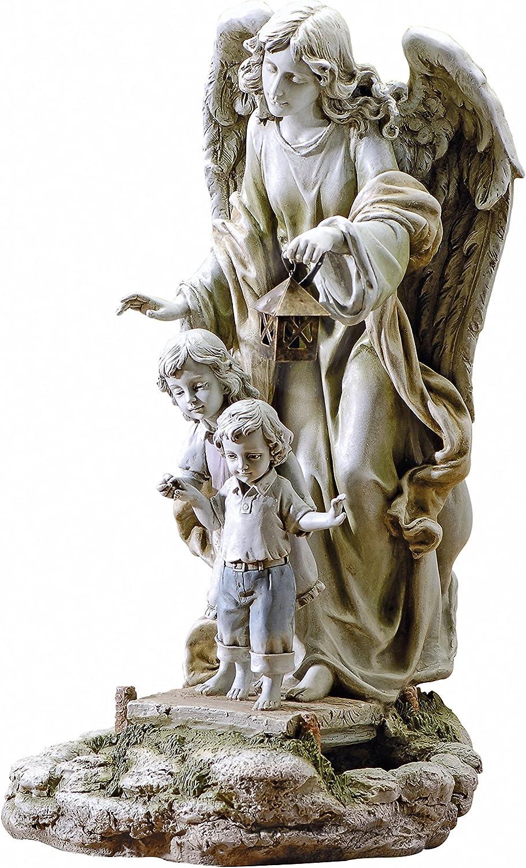 Joseph's Studio Guardian Angel with Children Solar Garden Statue, 20.5-Inch, Made of Resin Stone