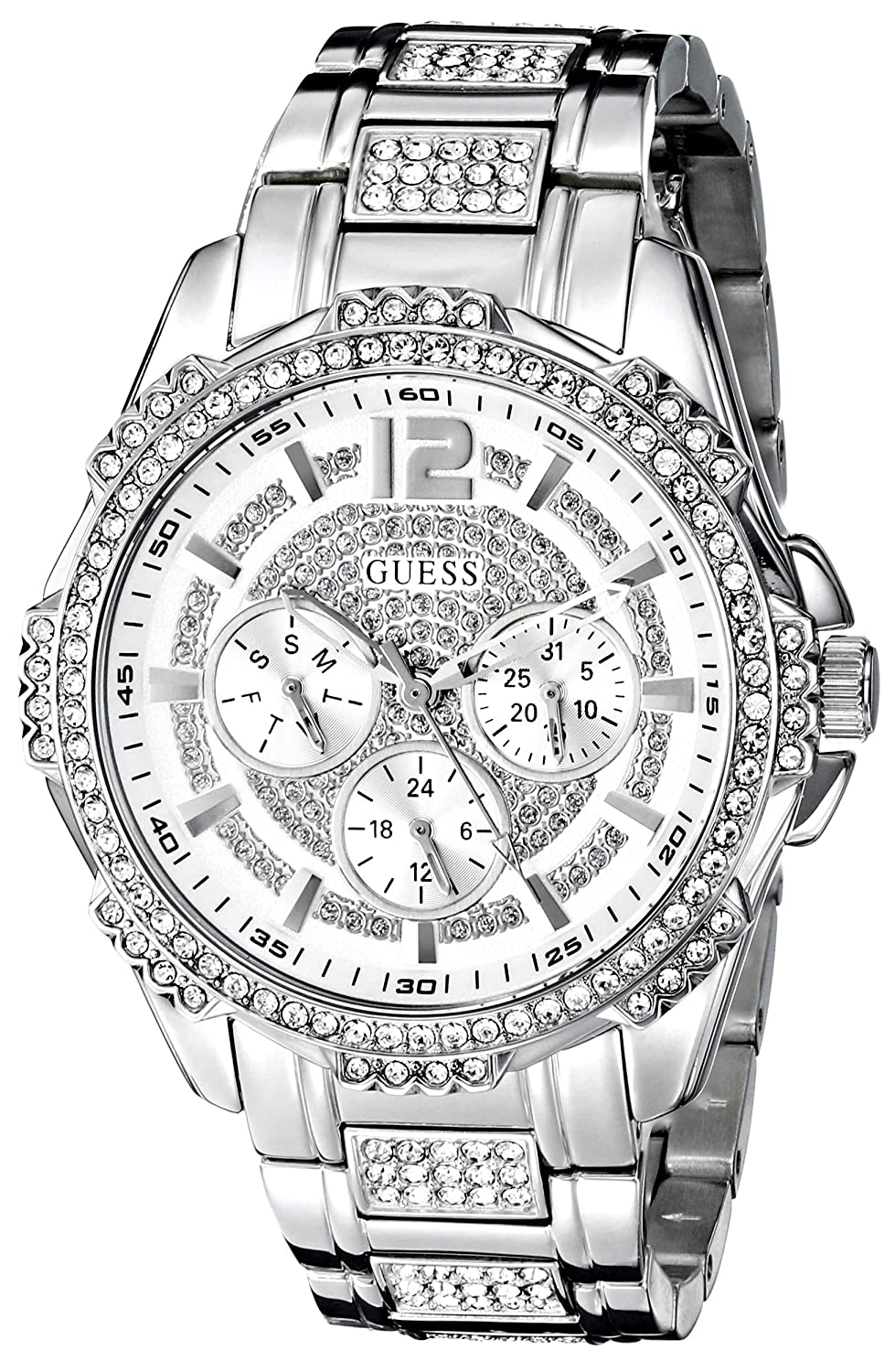 GUESS Women s U0286L1 Sporty Silver-Tone Stainless Steel Watch with Multi-function Dial and Pilot Buckle