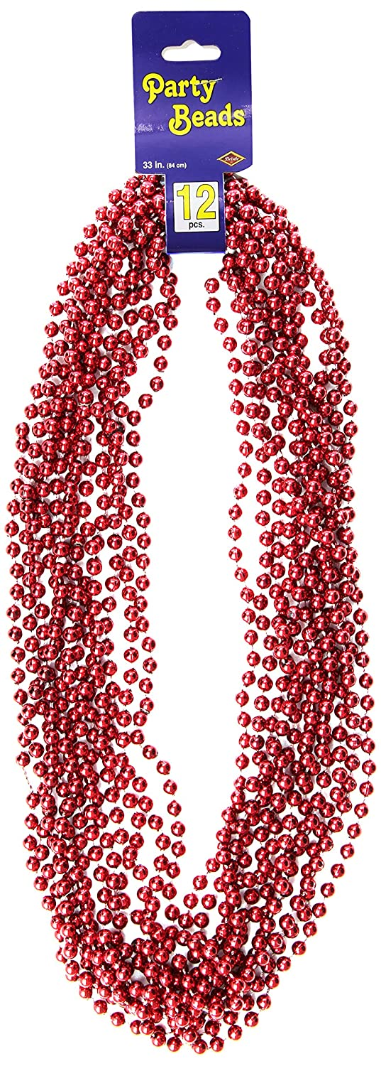 Small Round red The Beistle Company 50570-R 426 12//Card Party Beads