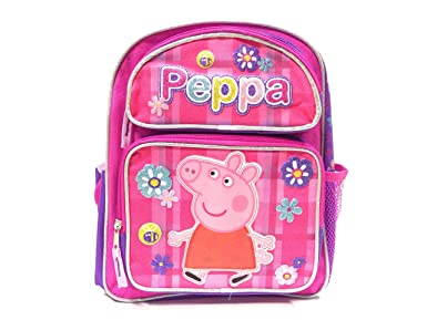 New Peppa Pig Allover Flower Pink Small 12 Inches Backpack 2229