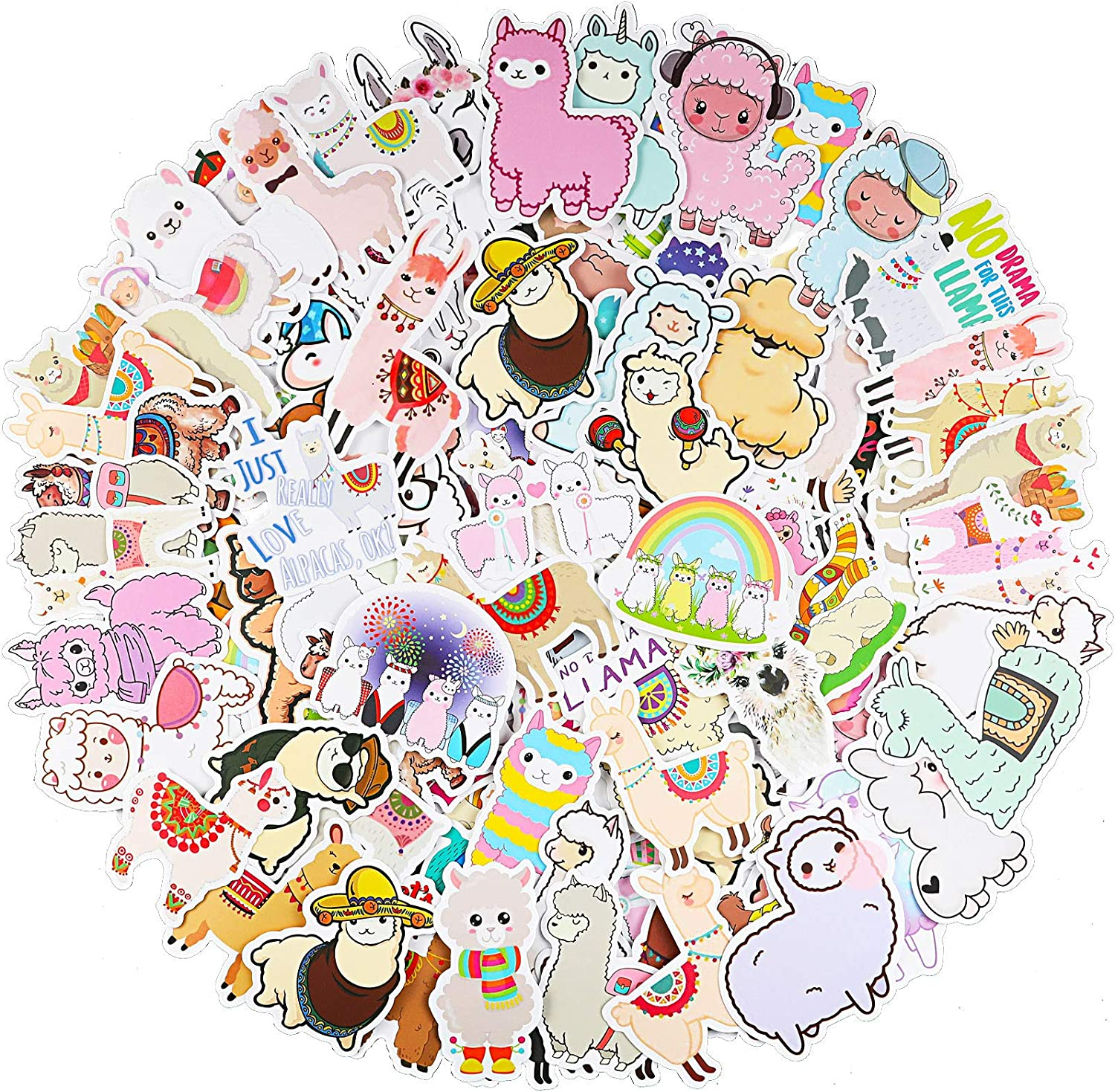 100 Pieces Funny Llama Stickers, Cute Animal Alpaca Decals for Boys Girl Teens, Llama Theme Laptop Stickers Waterproof Vinyl Bottles Stickers for Computer Phone Motorcycle Mexican Camel Theme Party