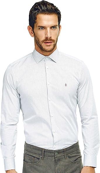 Caramelo, Camisa Slim Cuello Italiano, Hombre · Rojo Intenso, Talla 58: Amazon.es: Ropa y accesorios