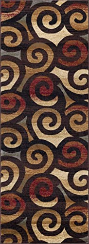 Carley Contemporary Scroll Multi-Color Runner Rug, 2.7 x 7