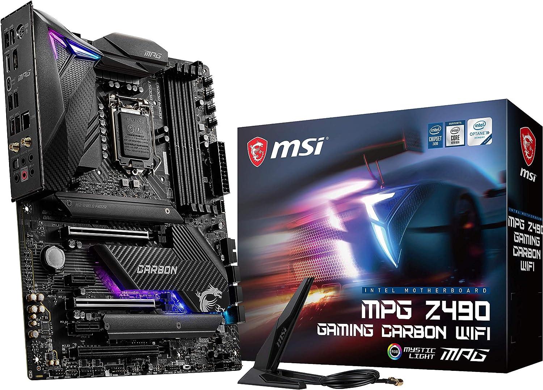 MSI - MPG Z490 Gaming Carbon Wifi - Placa Base Performance Gaming (10th Gen Intel Core, LGA 1200 Socket, DDR4, SLI/CF, Doble Ranura M.2, USB 3.2 Gen 2x2, Wi-Fi 6, DP/HDMI, Mystic Light RGB)