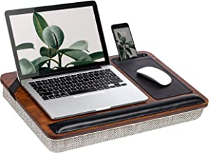 Rossie Home Premium Bamboo Lap Desk with Wrist Rest, Mouse Pad, and Phone Holder - Fits Up to 15.6 Inch Laptops - Espresso - Style No. 91712