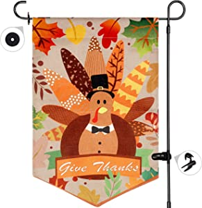 FORUP Thanksgiving Garden Flag, Welcome Fall Double-Sided Turkey Burlap House Flags, Outdoor House Yard Flags for Autumn Harvest Thanksgiving Decorations, 12 x 18 Inch