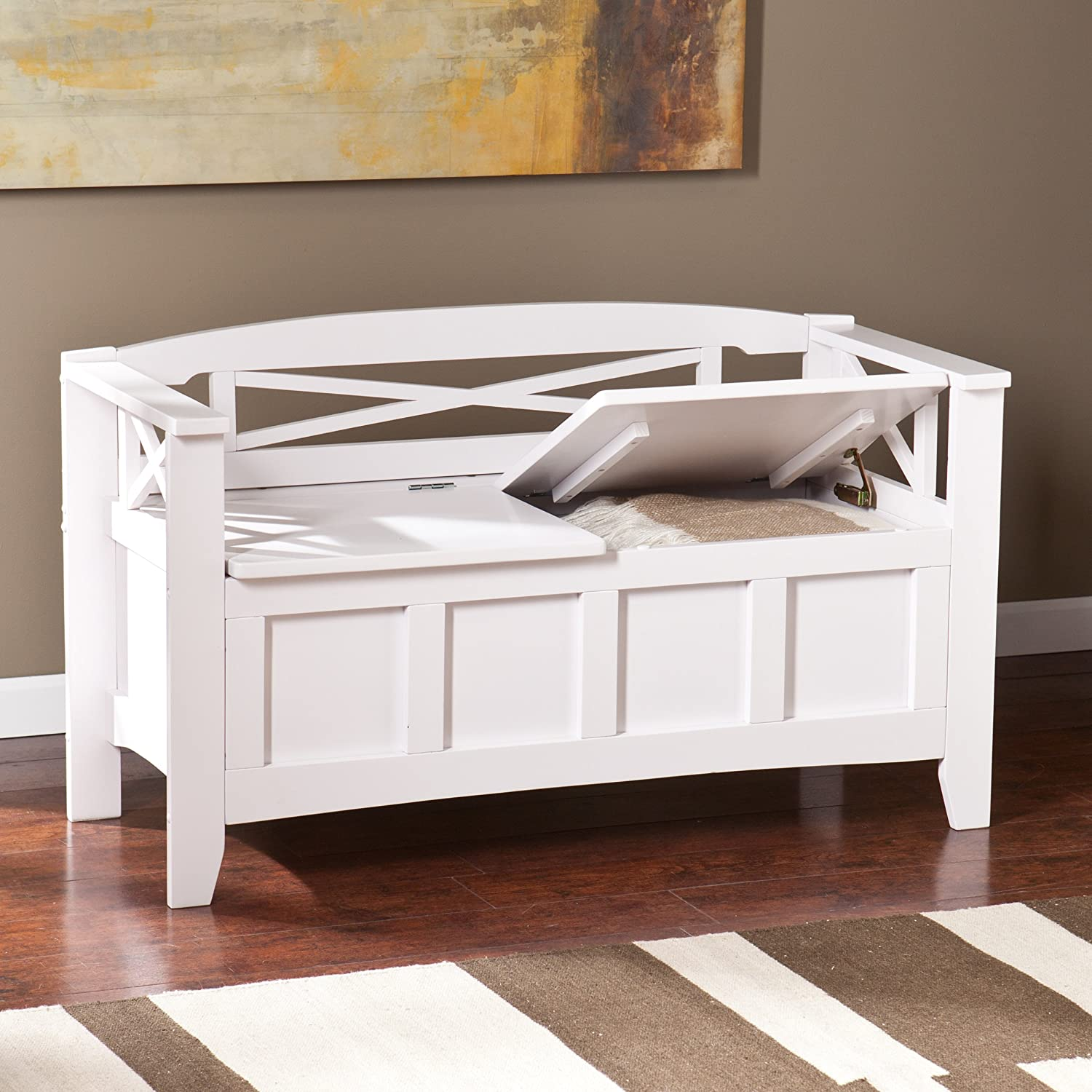 Amazon.com: SEI Southern Enterprises Cutler Storage Entryway Bench, White  Finish: Kitchen U0026 Dining
