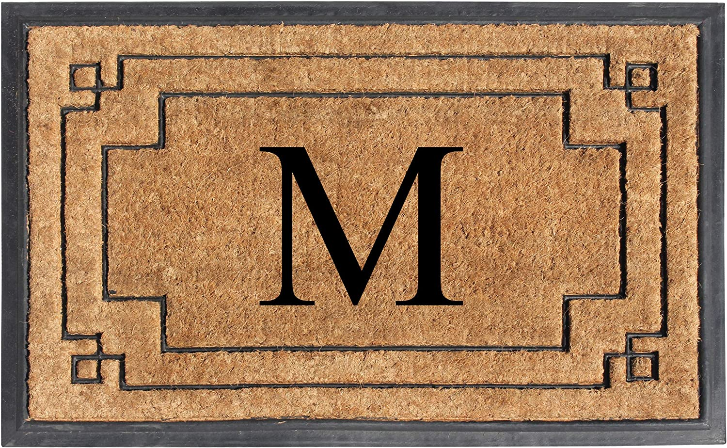 "A1 HOME COLLECTIONS A1HOME200128-M A1HC-Designer Hand-Crafted Rubber & Coir Frame Molded Double Door Mat, Perfect and More Functional Size 24""X36"" Monogrammed, M"