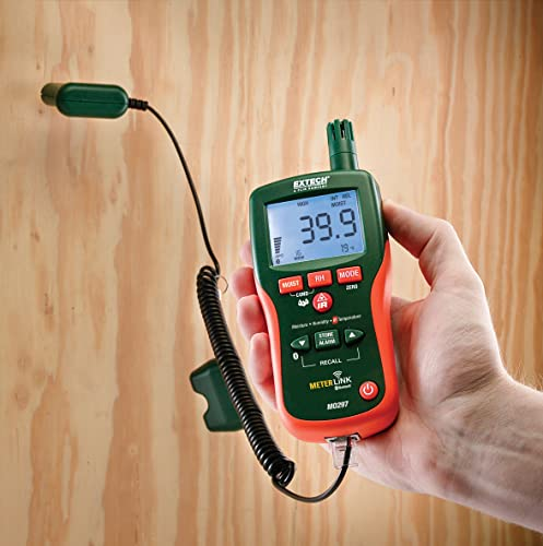 Extech MO297 Pinless Moisture Psychrometer with IR Thermometer and Bluetooth MeterLink