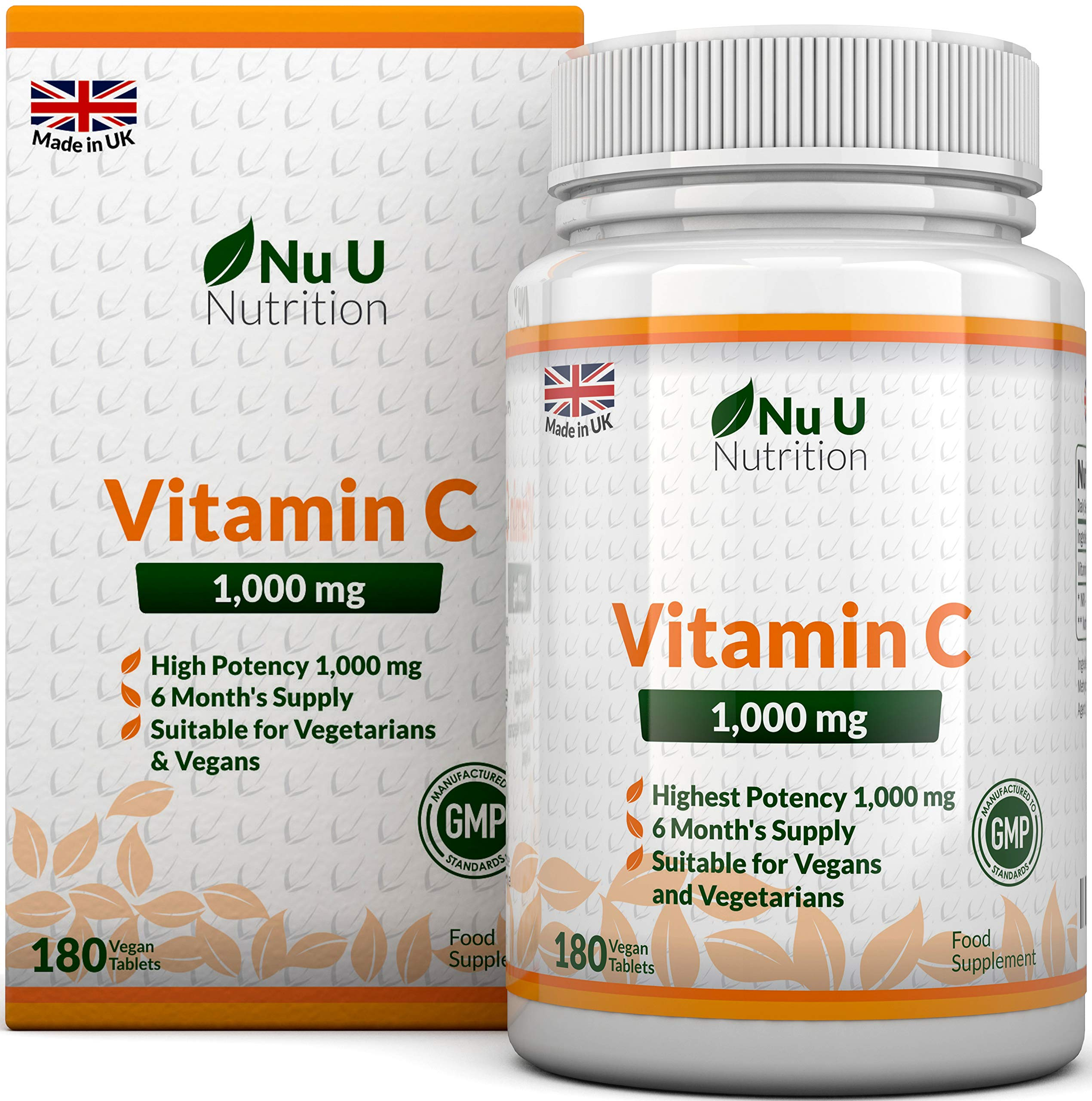 Vitamin C 1000mg   180 Tablets (6 Month's Supply)   Ascorbic Acid   Suitable for Vegetarians & Vegans by Nu U Nutrition product image