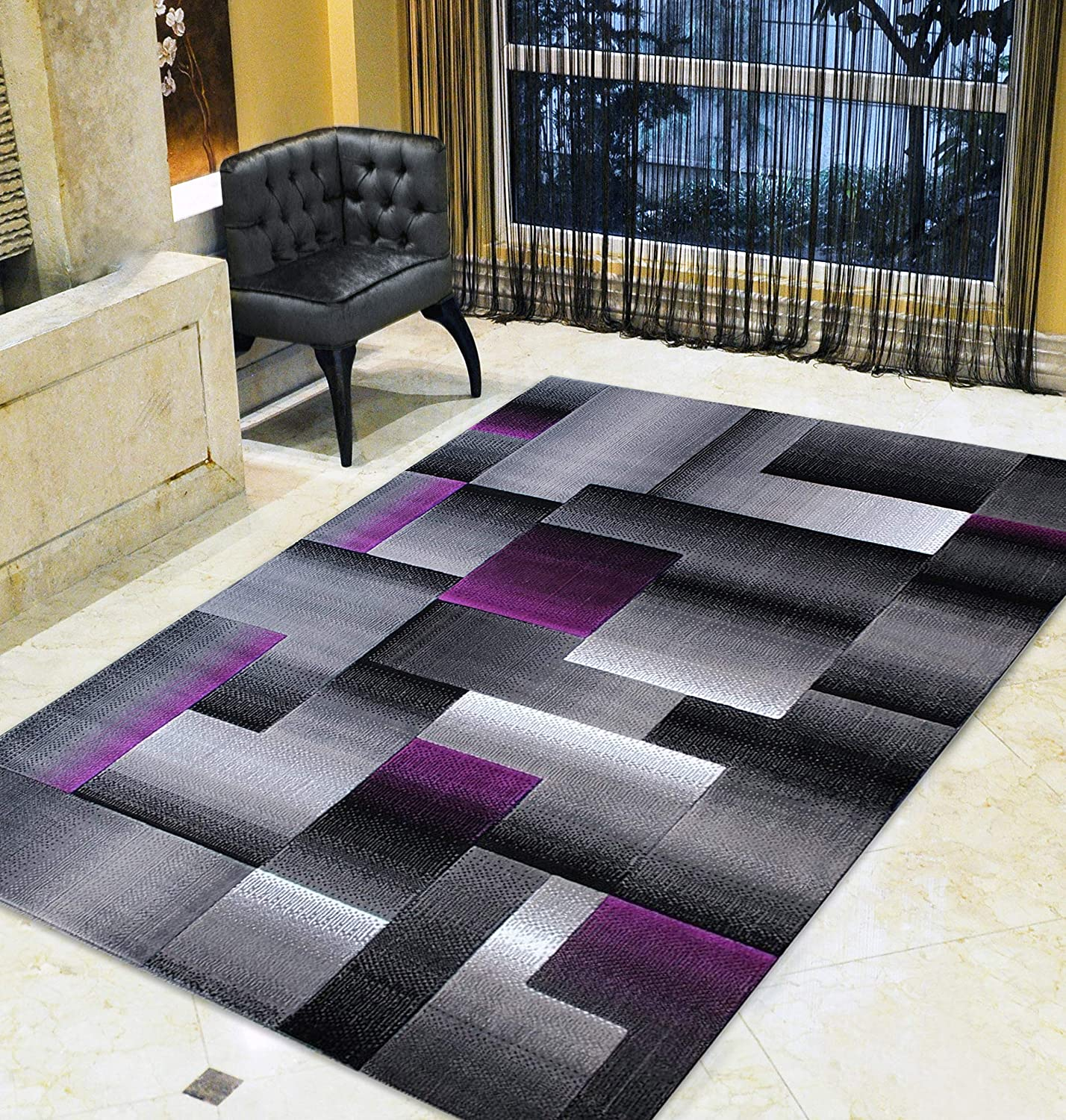Hr Purple Grey Silver Black Abstract Area Rug Modern Contemporary Geometric Cube And Square Design Pattern Carpet 7 8 X10 Kitchen Dining