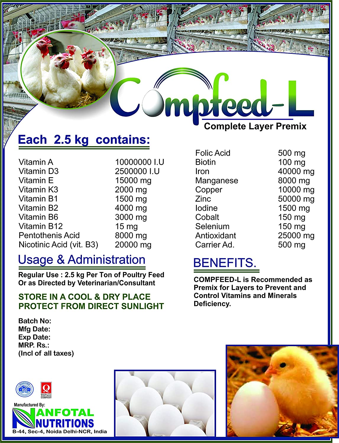 Compfeed-L, Poultry Layer Complete Feed Premix 1Kg by