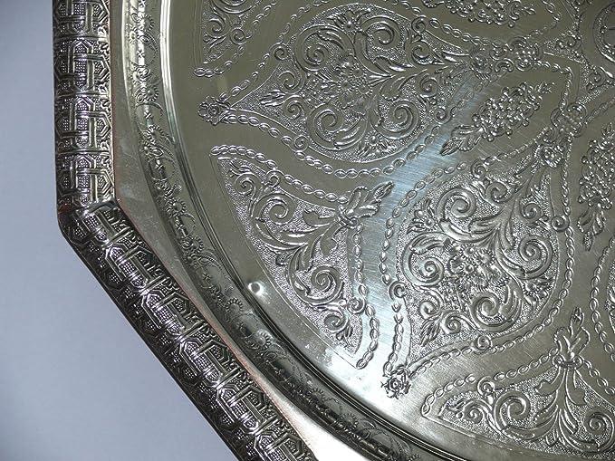 Artesanía oriental rareza bandeja de té plata plateado Marruecos, hecho a mano-antigüedad único Ø: Amazon.es: Hogar